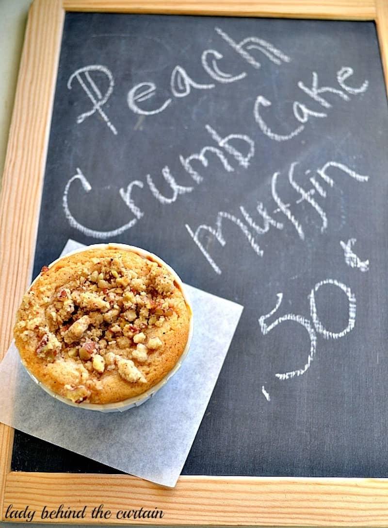 Peach crumb cake muffin