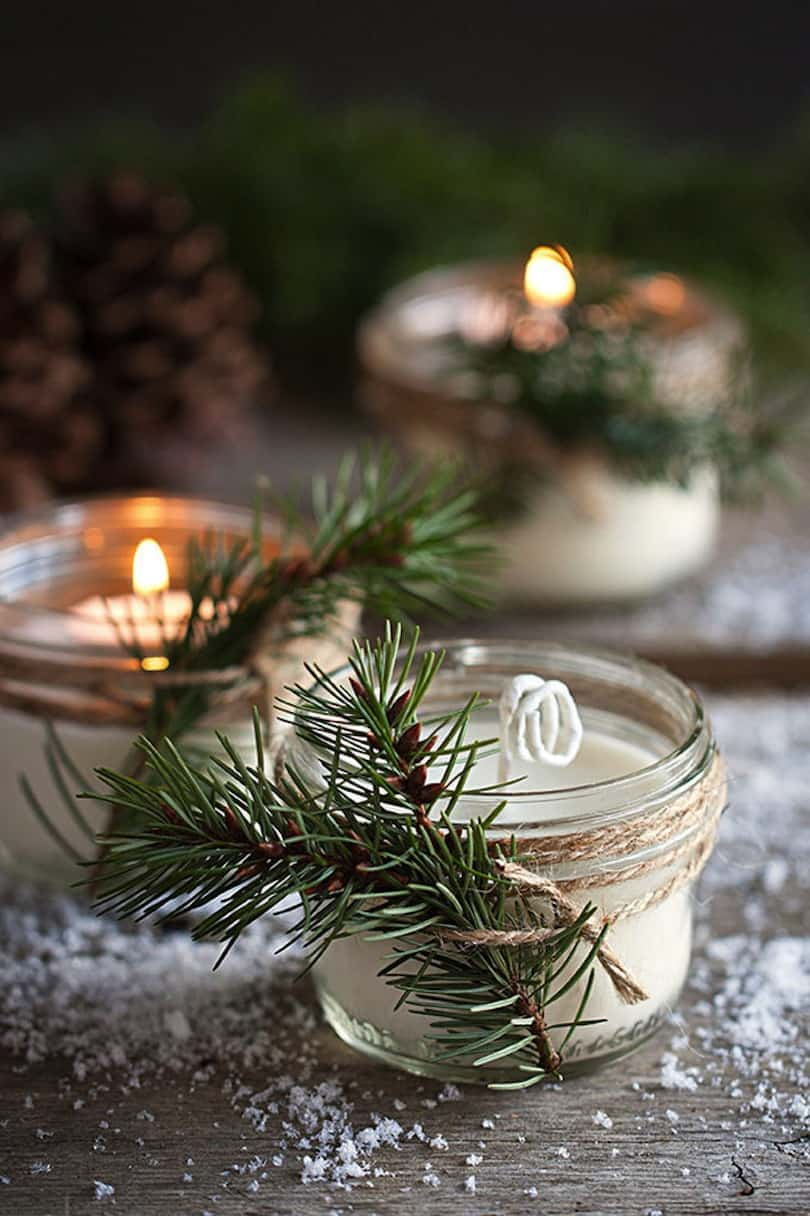 Pine scented candles for winter weddings