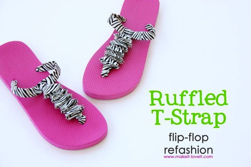 Ruffled T-strap sandals