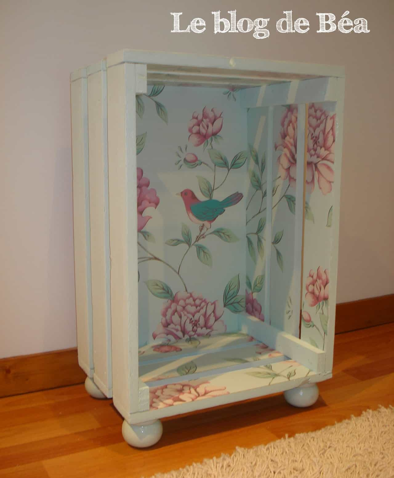 Shabby chic wall papered side table
