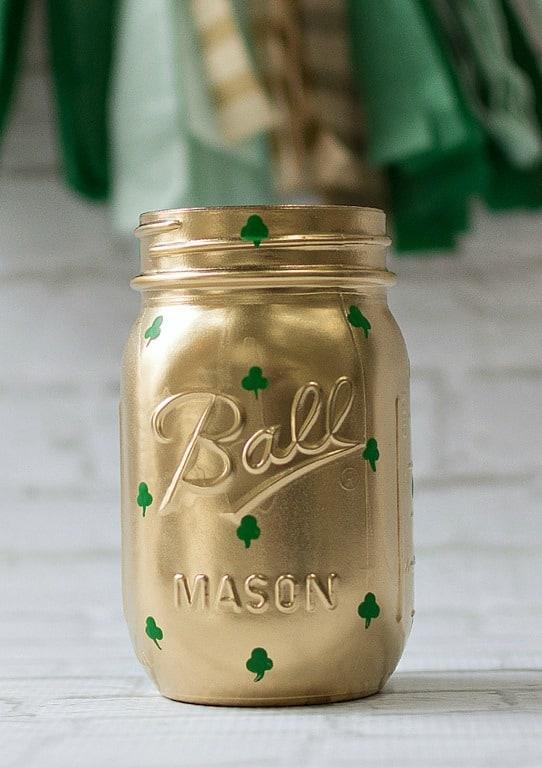 Shamrock mason jar