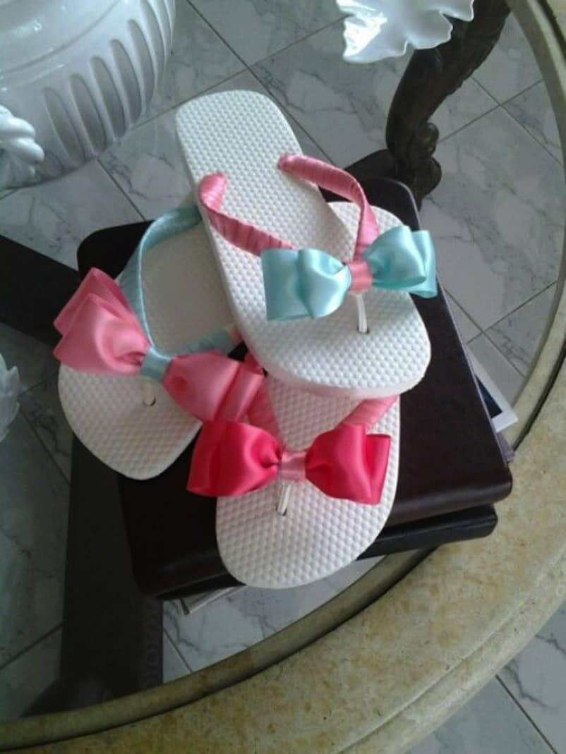 Silk ribbon and bow flip flops
