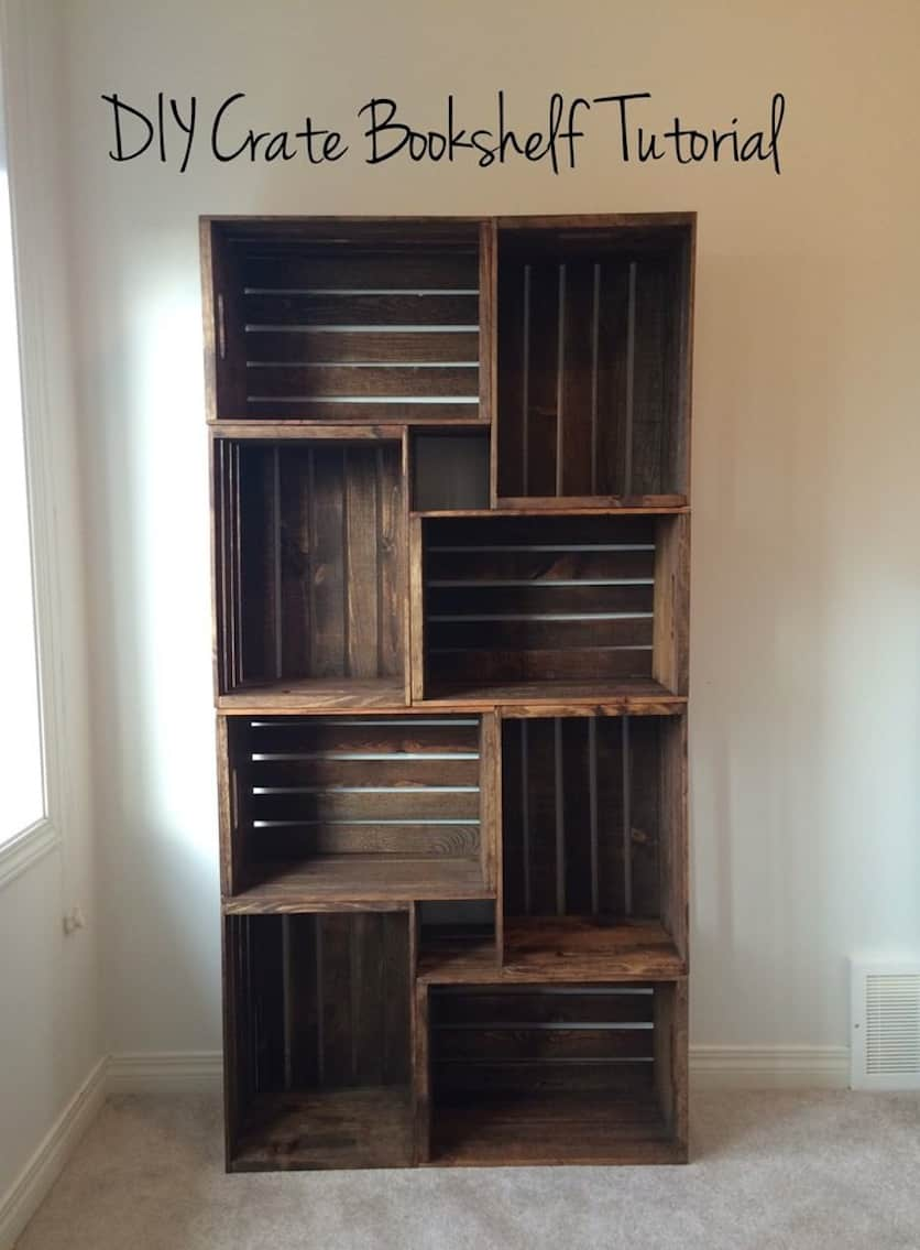 Simple stacked crate bookcase