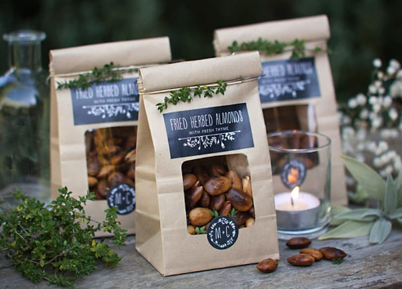 Spiced nuts in a custom window bag