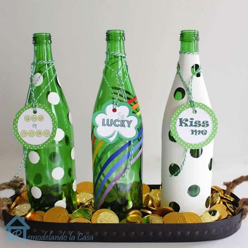 St. Patrick's Day bottle centrepiece