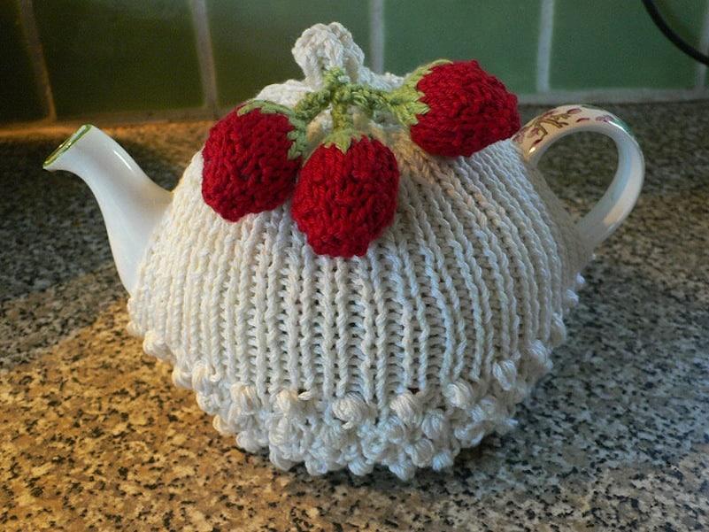 Strawberries and cream tea cozy