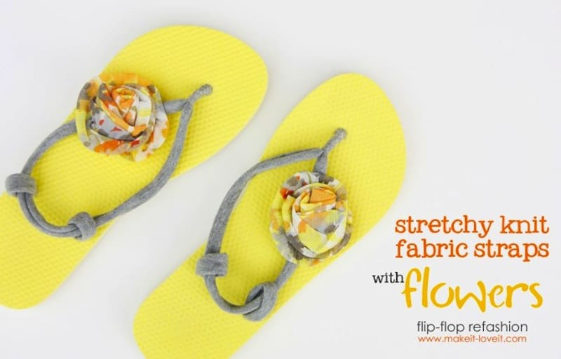 Stretch fabric slip ons and fabric flowers