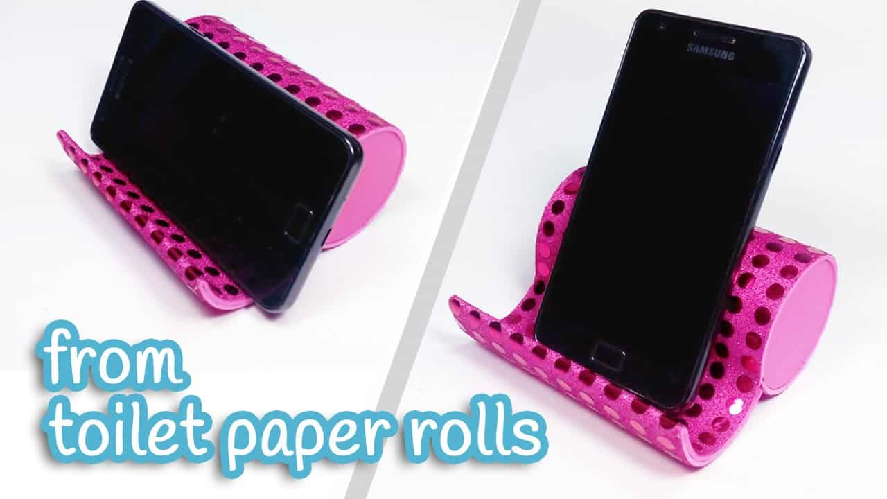 Toilet paper rolls phone stand