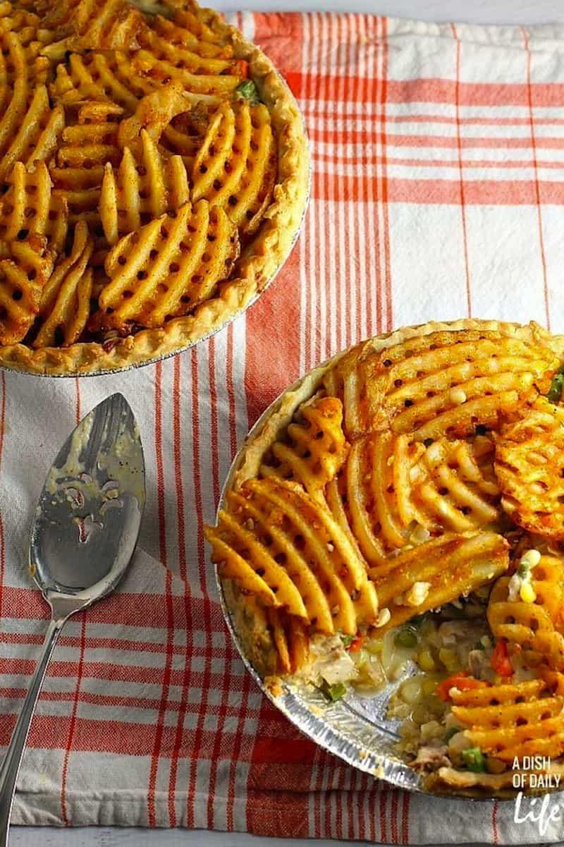 Waffle fry chicken pot pie