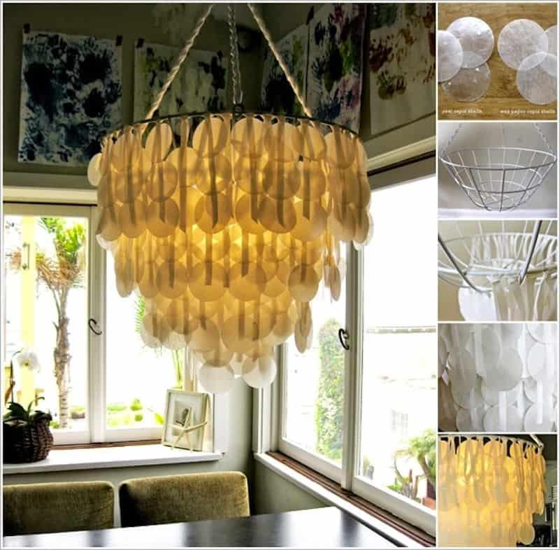 Wax paper circlette chandelier