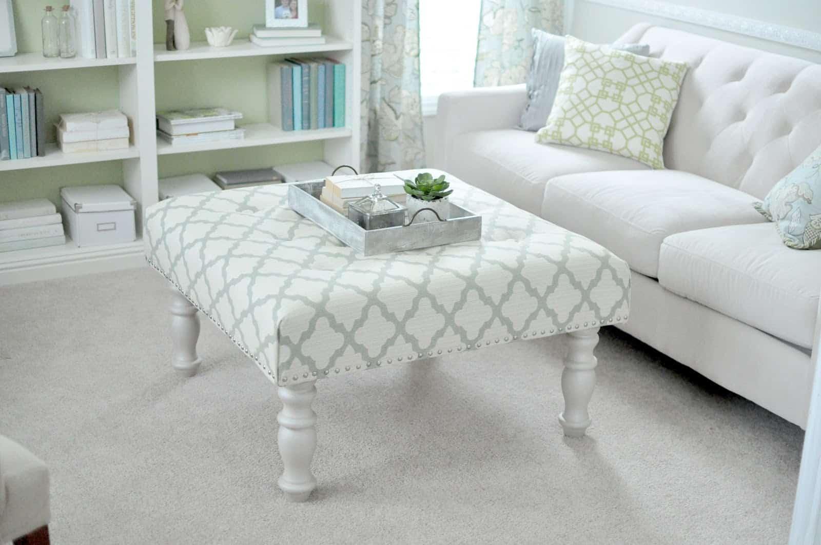 White upholstered ottoman