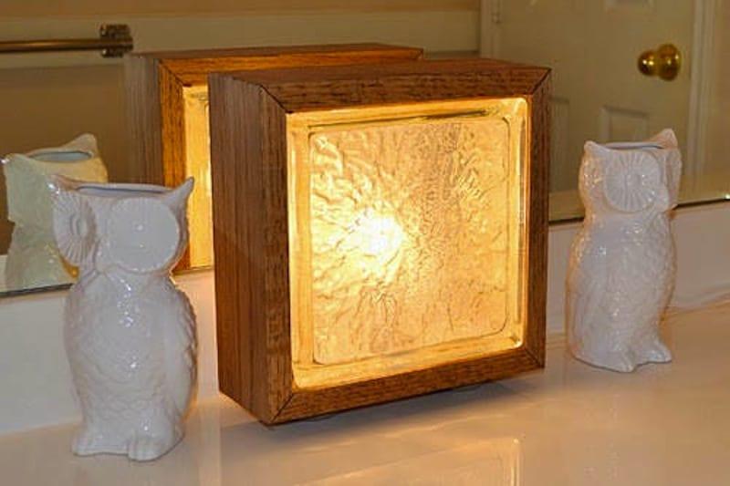 Wood and glass box night light