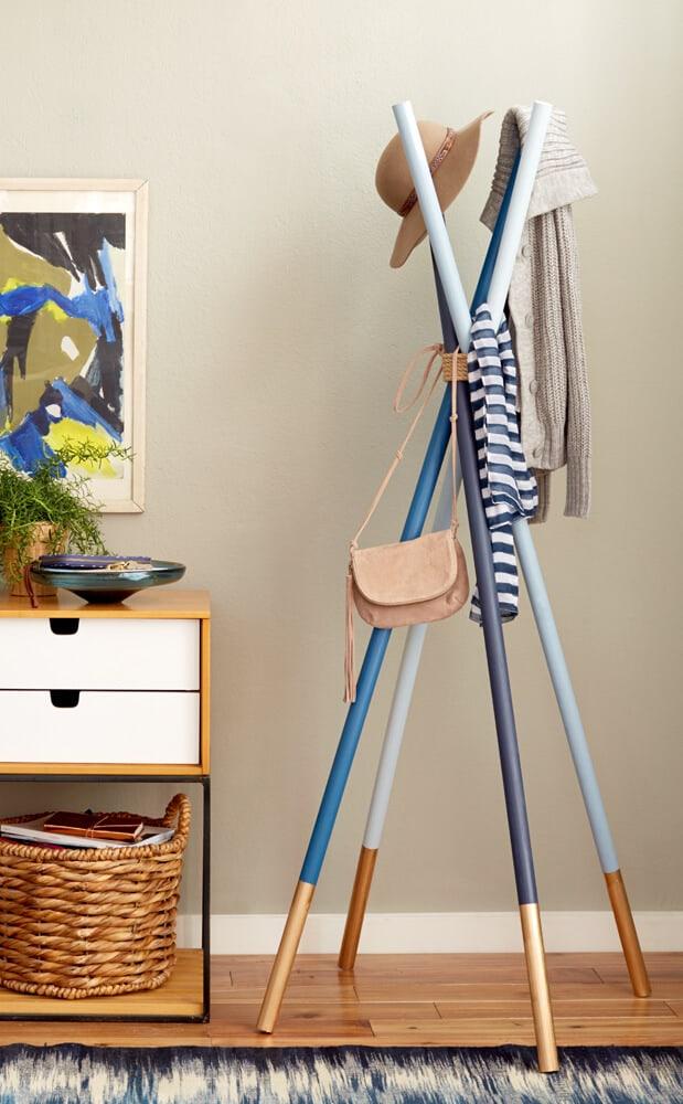 Wooden dowel coat rack