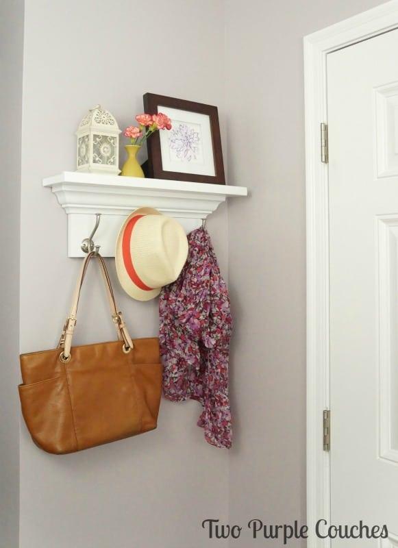 Wooden shelf coat rack