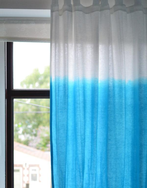 Baby blue dip dye curtains