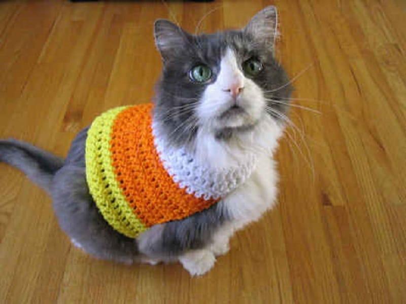 Crocheted candy corn sweater