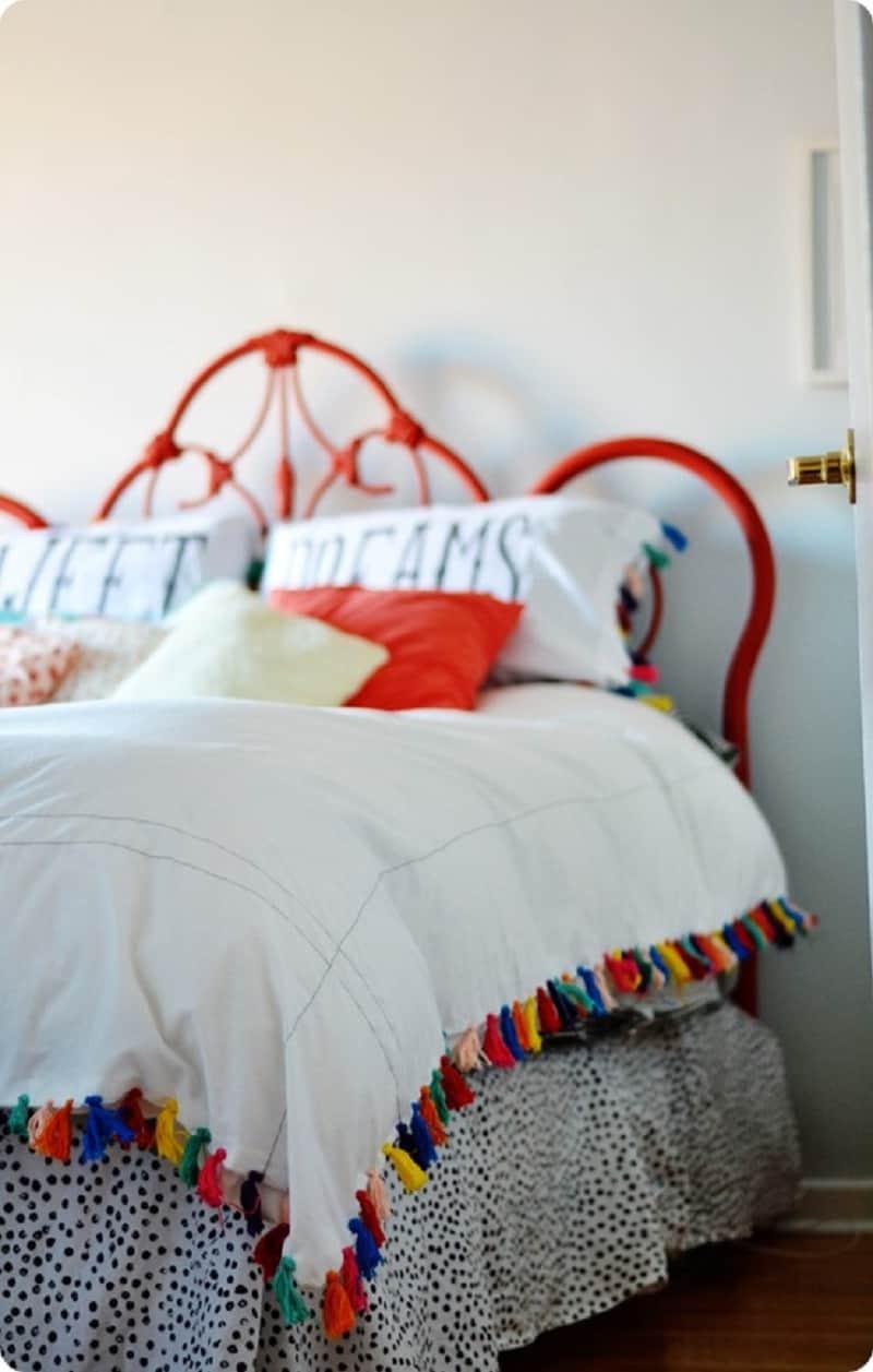 DIY duvet with a rainbow tassel edging