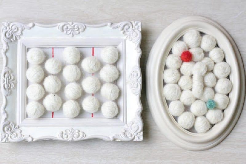 Felted yarn ball frames