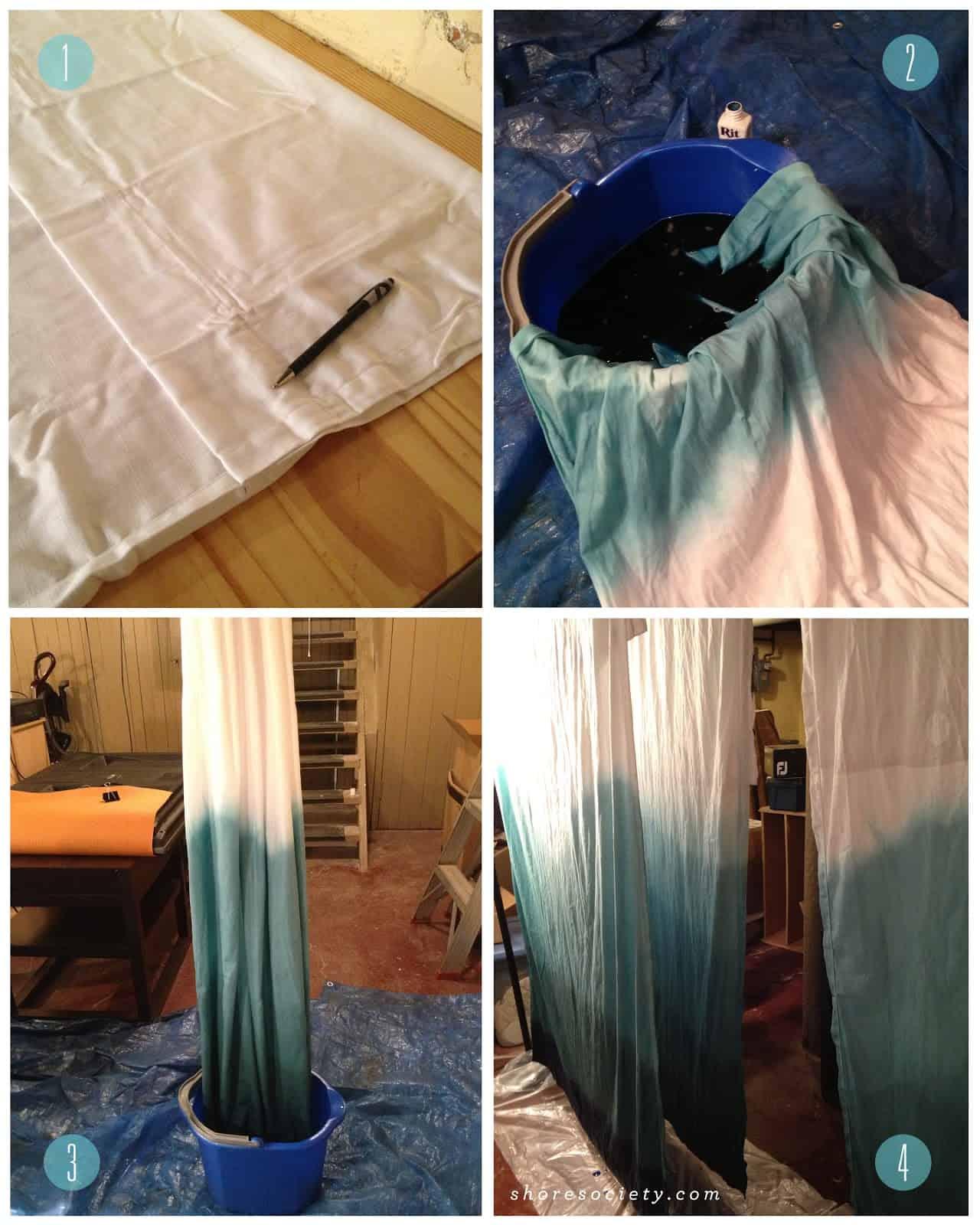 Green dip dye curtains