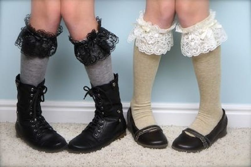 Lace topped knee high socks