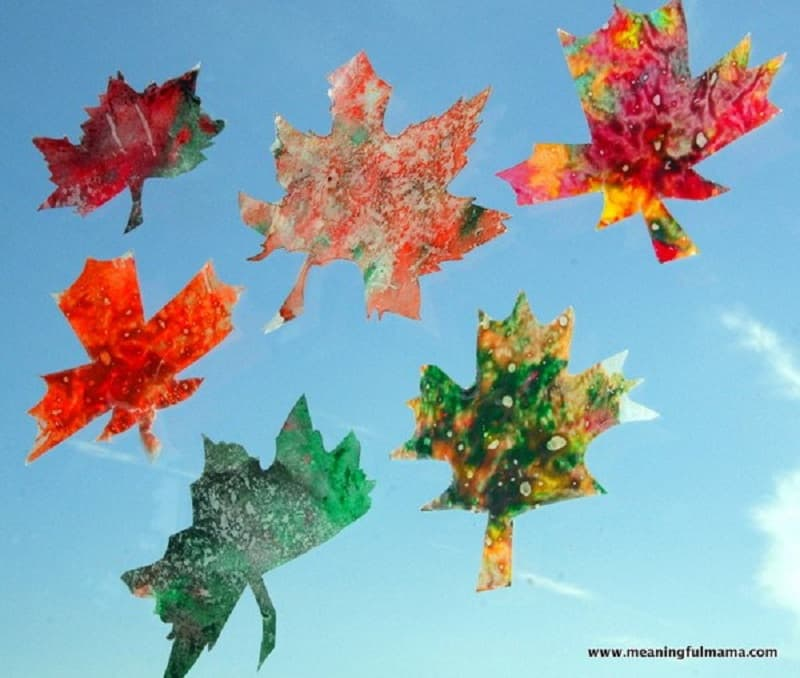 Leaf and crayon sun catchers