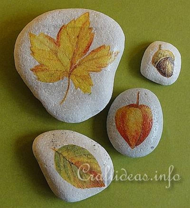Leaf and stone paper weights