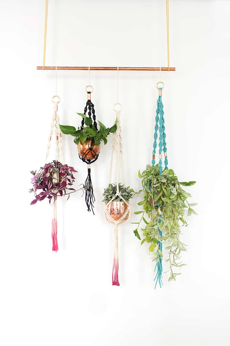 Macrame plant hangers with copper