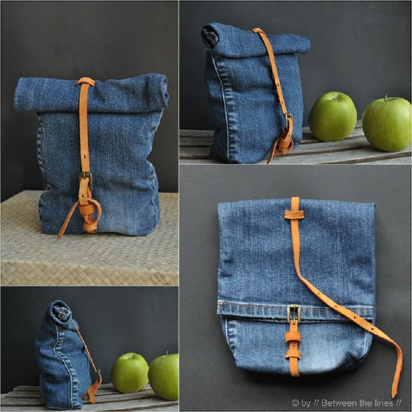 Make a leather belted lunch bag
