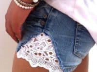 Make lace cut off shorts 200x150 Keeping them Alive: Fun Ways to Alter Old Jeans