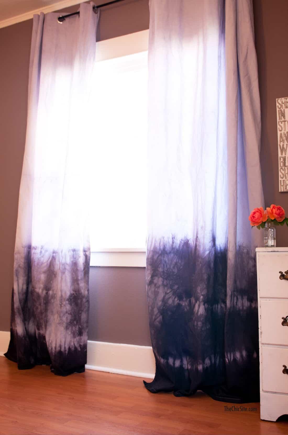 Marbled dip dye curtains