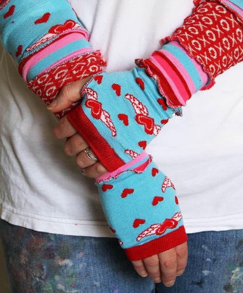 Old sock arm warmers