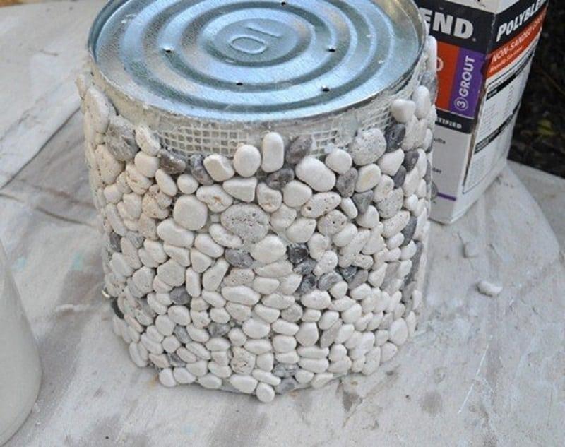 Paint can pebble planter