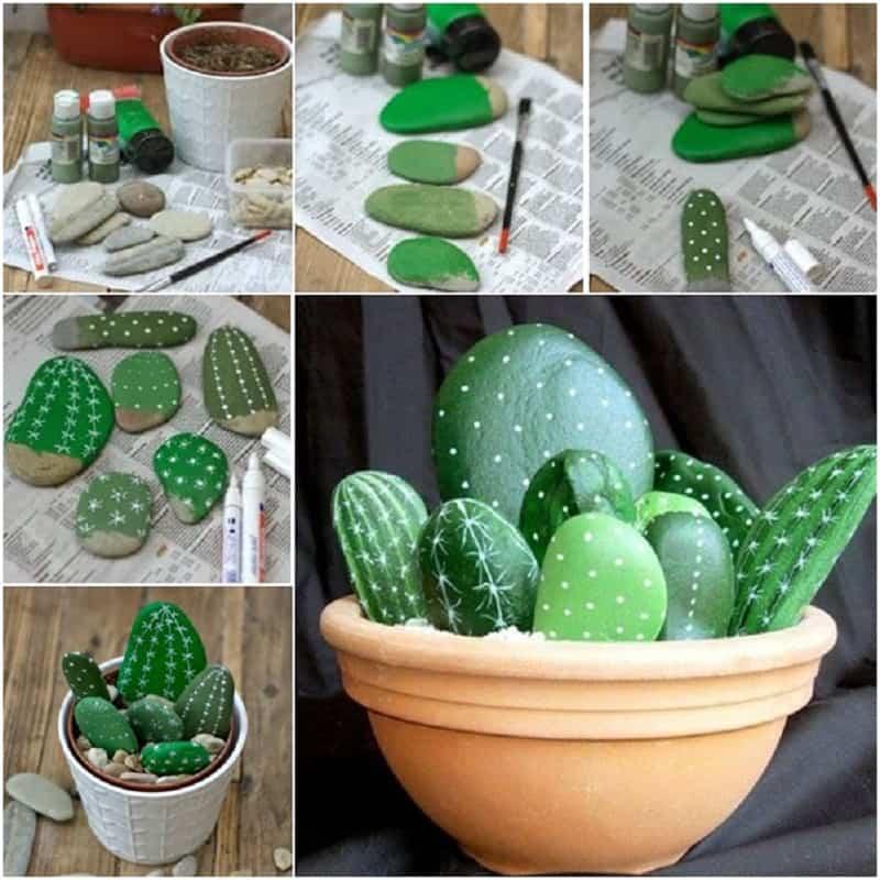 Painted rock cactus garden
