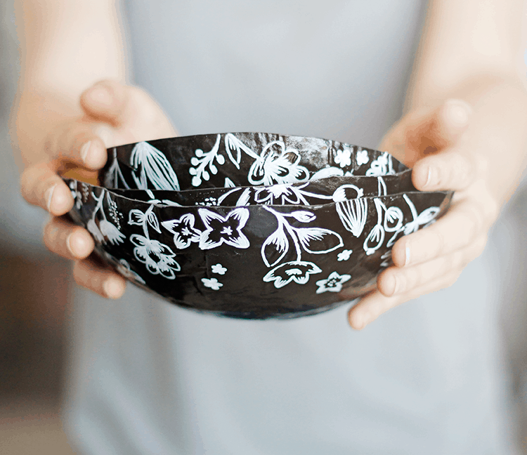 Paper mache nesting bowls
