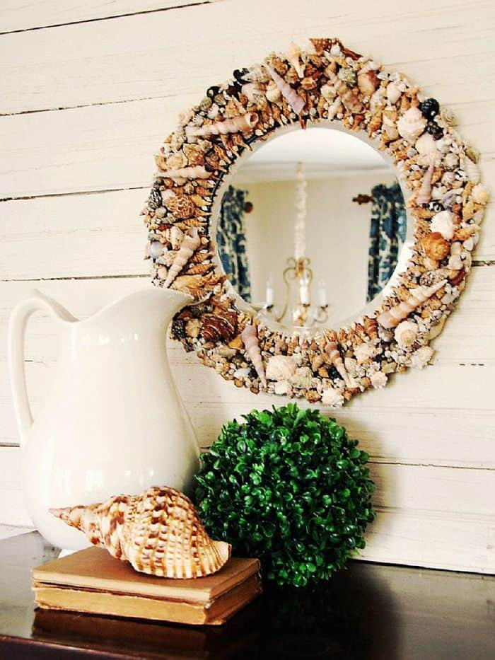 Seashell mirror frame