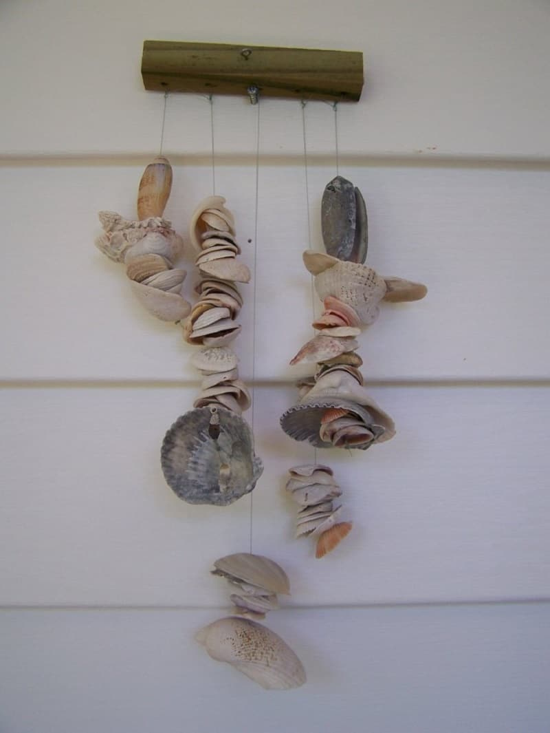 Strung seashell mobile