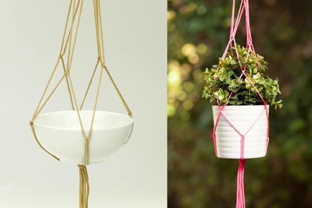 Thin rope macrame plant hanger