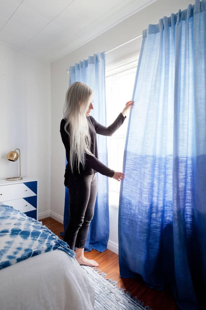Three-shade blue dip dye curtains