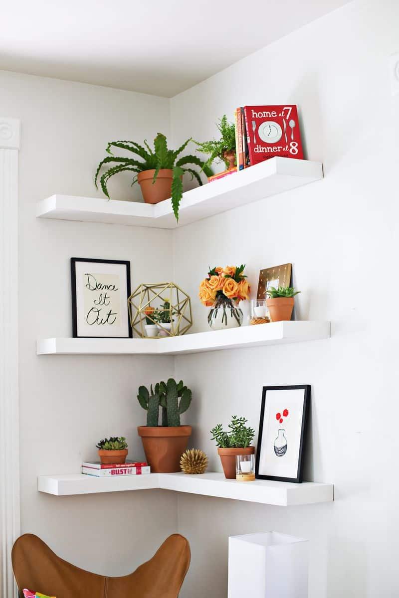White corner floating shelves