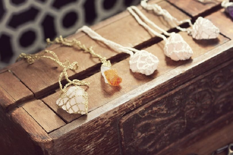 Wire wrapped rock necklace pendants