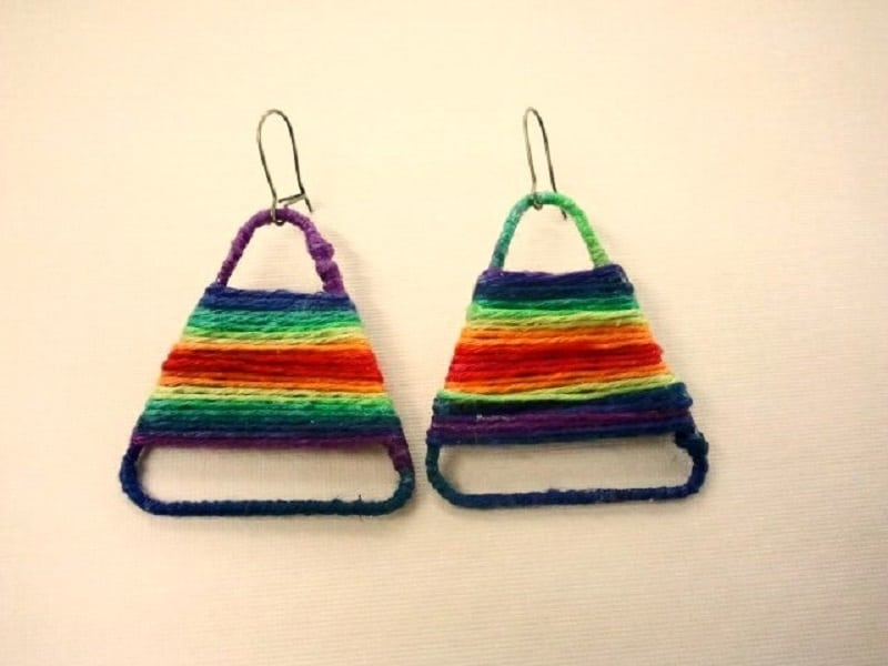 Yarn woven paper clip earrings