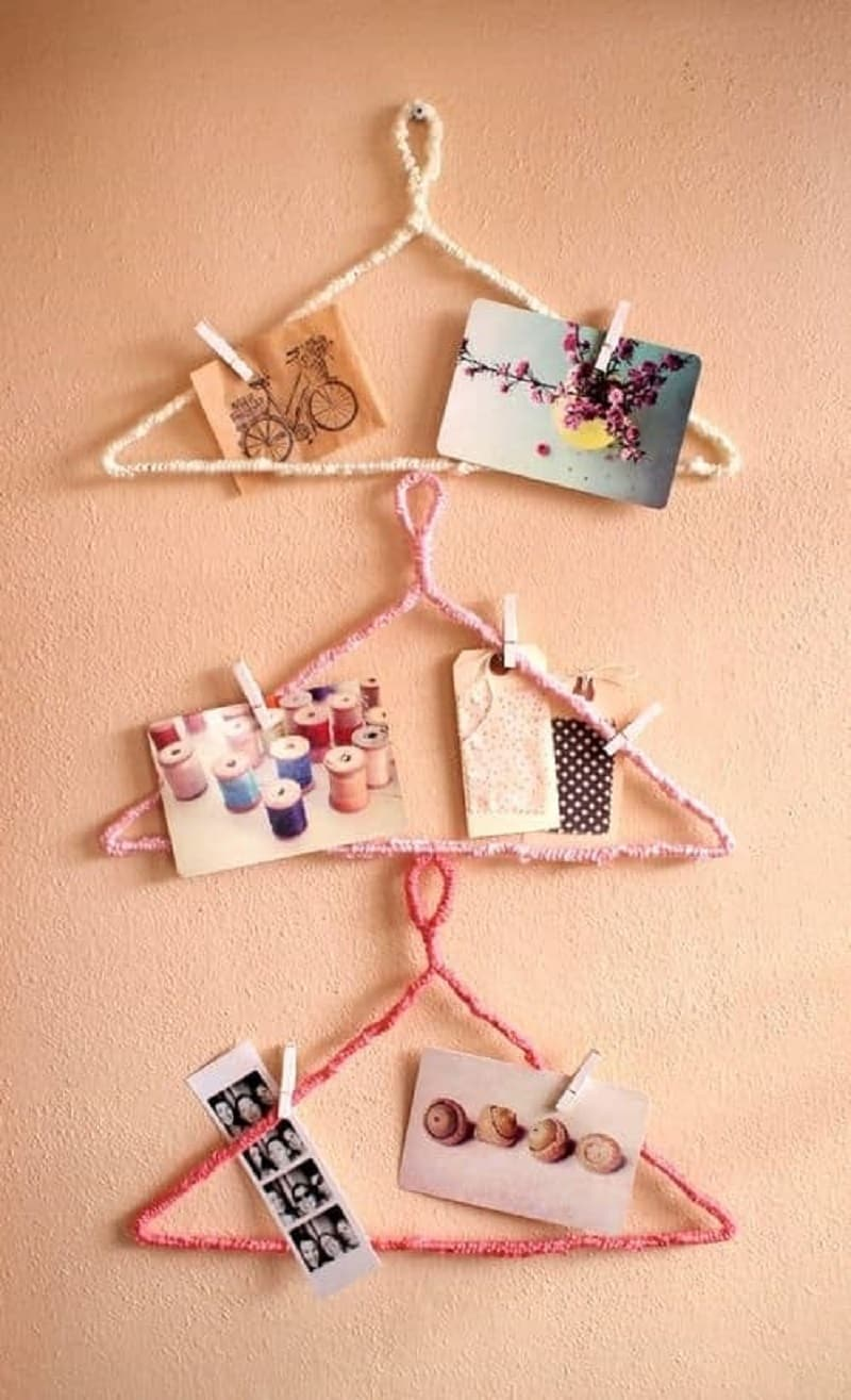 Yarn wrapped photo clothes hangers