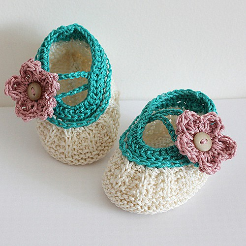 Apple blossom baby booties