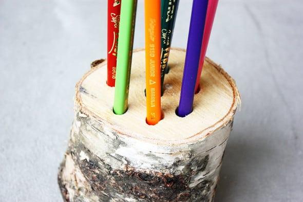 Birch section pencil holder