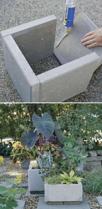 Concrete pavers turned planters