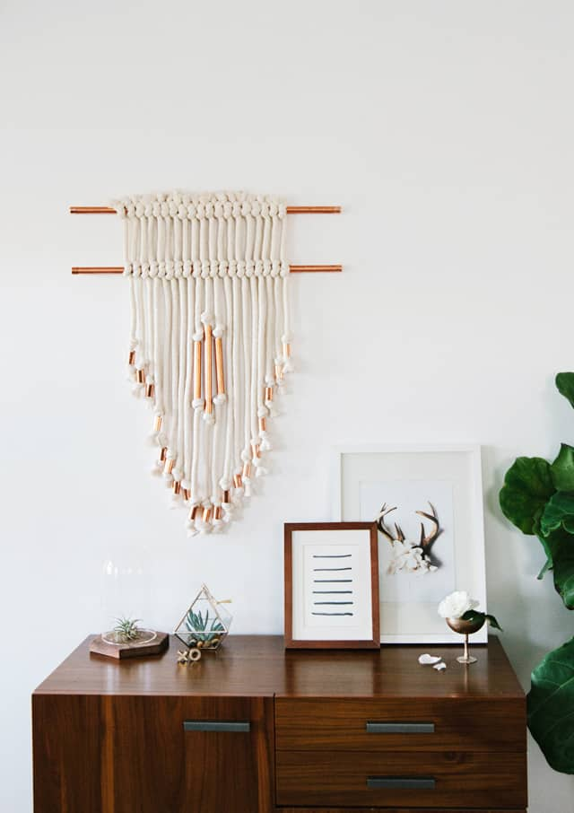 Copper and rope wall hanger