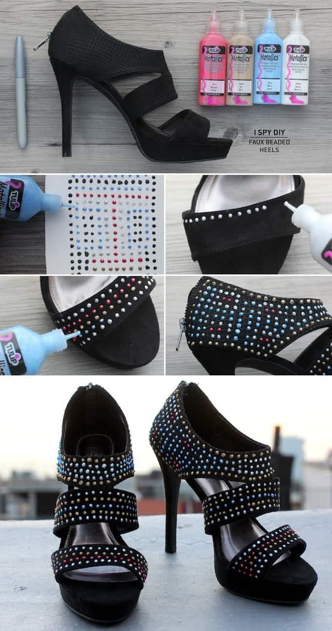 Faux beaded heels