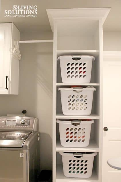 Floor to ceiling laundry shelves