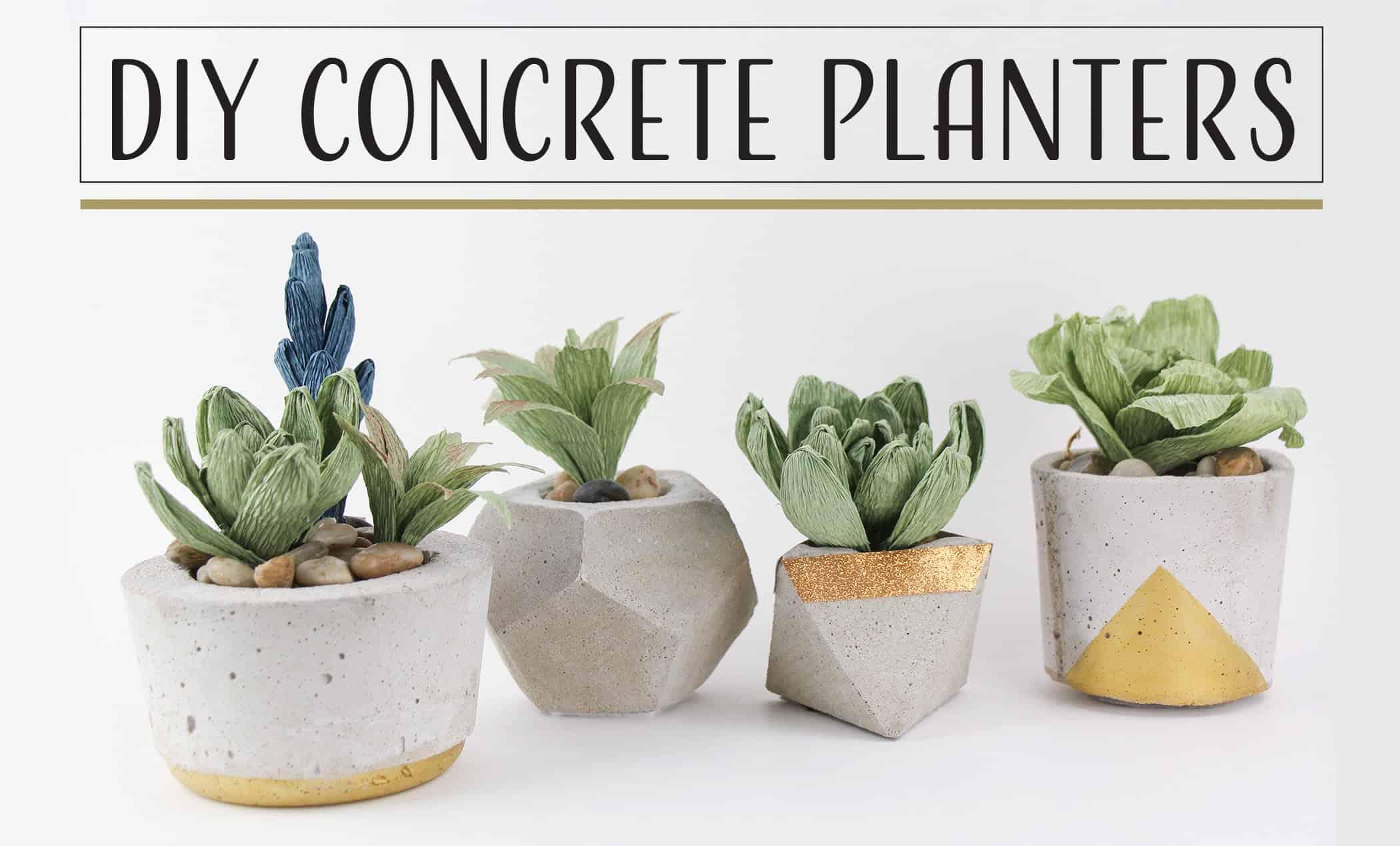 Gold concrete planters