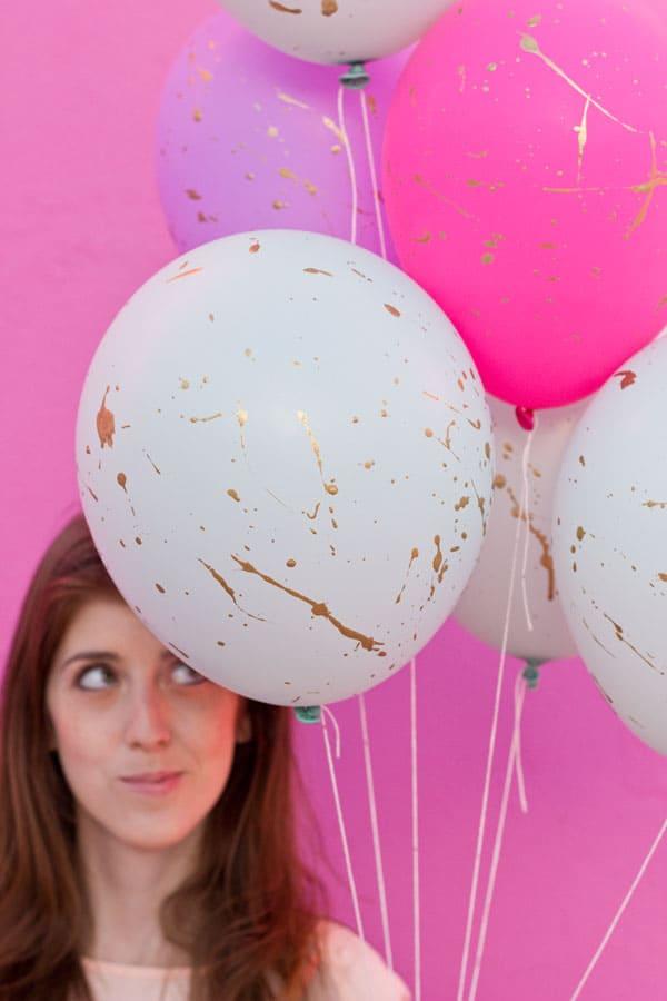 Gold splatter balloons